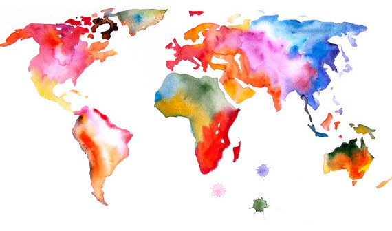 Watercolor world map etsy gumiabroncs Images
