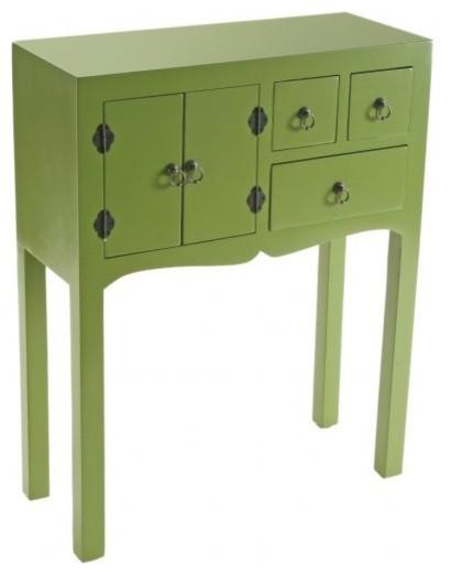MATMATA petite console design en bois 3 tiroirs 2 portes  ~ Petite Table Bois