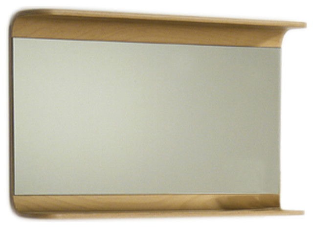 Aeri Rectangular Wall Mount Mirror With Integral Wood Shelf Modern Bathro