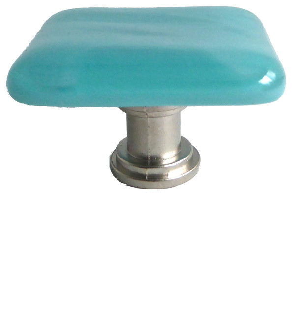 Decorative fused glass cabinet door knob turquoise satin for Colored glass cabinet knobs