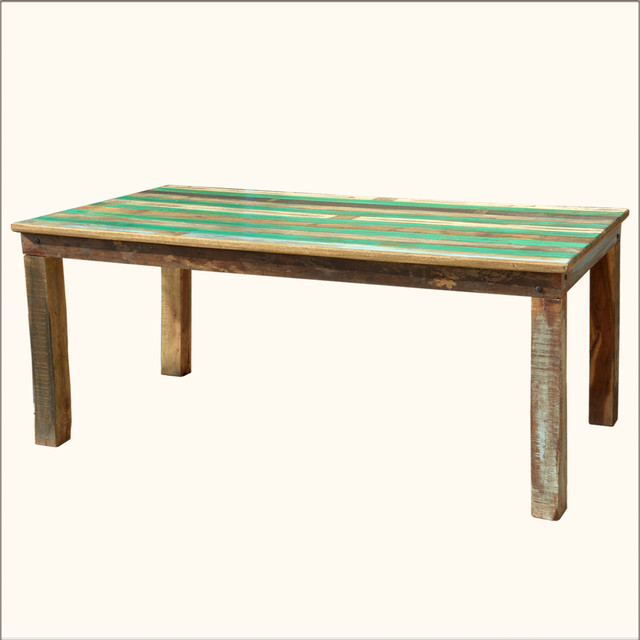 Appalachian Rustic Reclaimed Wood Striped Top 71 Dining
