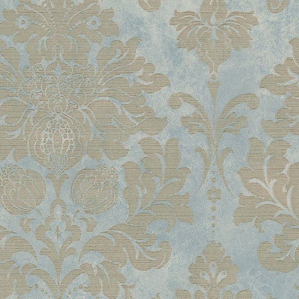 Large Damask Gold On Turquoise Traditional Wallpaper