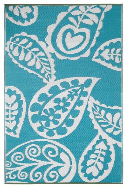 Paisley Rug River Blue & White 4x6 Contemporary