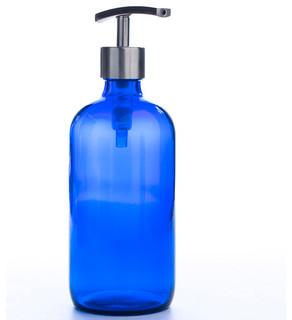 Cobalt Blue Glass Apothecary Bottle Dispenser Contemporary Bathroom Acces