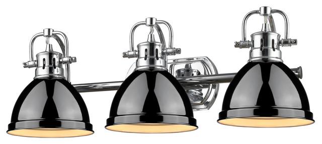 Duncan 3 Light Vanity Chrome With Black Shade Industrial Bathroom Vanity Lighting By