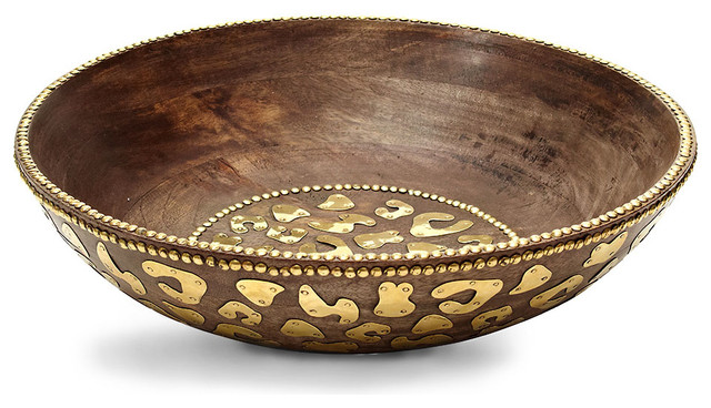 Cheetah Wood Bowl Contemporary Decorative Bowls By Bliss Home Design
