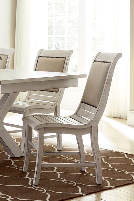Willow Distressed White Slat Bedroom Set: Willow Distressed White Dining Chairs (Set Of 2