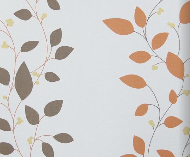 Modern Floral Print Wallpaper, Orange - Transitional ...