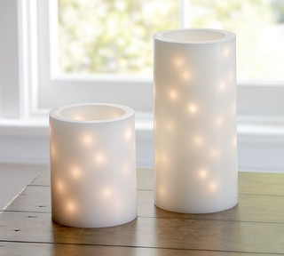 Flameless Embedded String Light Pillar Candles - Contemporary - Candles - sacramento - by ...