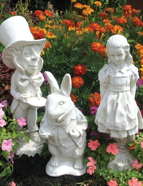 Alice in wonderland statuary set victorian garden - Alice in wonderland outdoor decorations ...