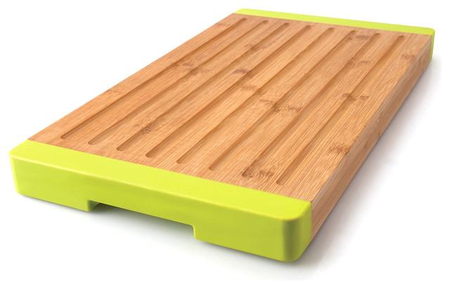 Grooved Bamboo Bread Board Modern Cutting Boards