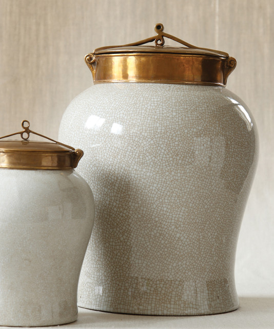 White Crackle Jar With Bronze Lid