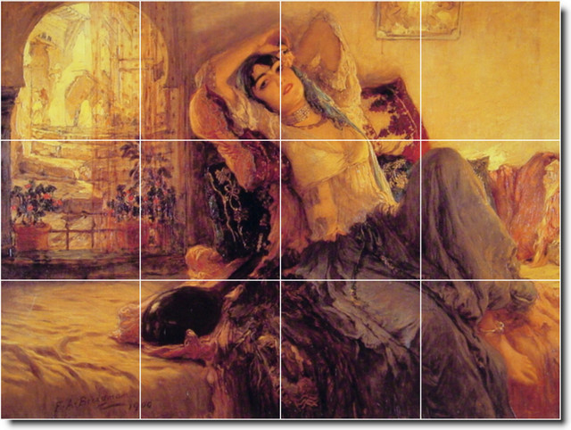 Frederick bridgman women painting ceramic tile mural 89 for Ceramic mural painting