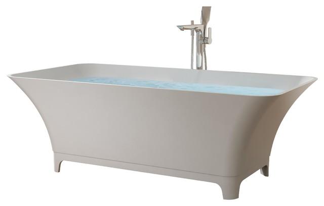 Adm White Solid Surface Stone Resin Bathtub Modern