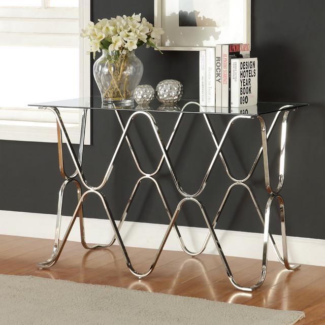 Furniture of america tellarie contemporary chrome sofa for Furniture of america sofa table