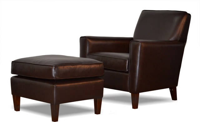 Genuine Espresso Brown Leather Accent Chair, Club Chair, Cigar Chair, Chair With - Transitional ...