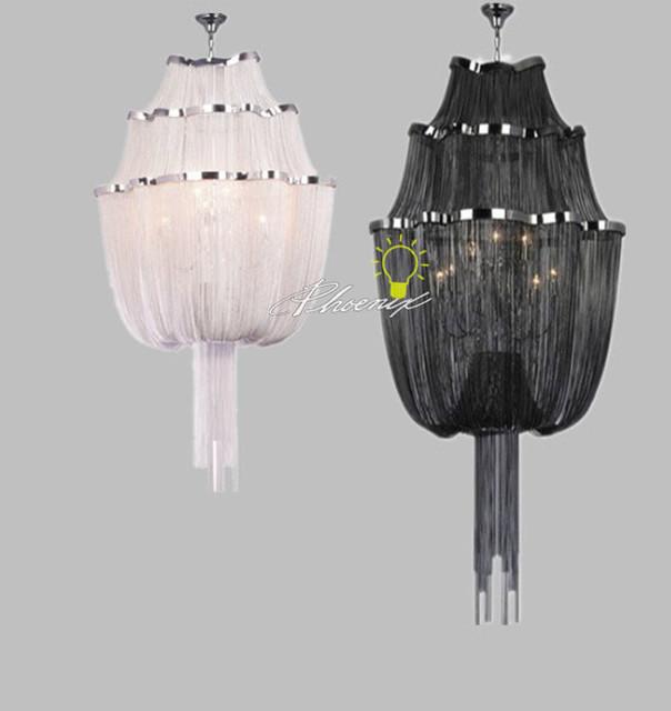 Modern Chandeliers Nyc: Black/white Chain Chandelier