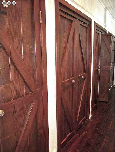 Custom Reclaimed Wood And Mahogany Closet Doors Eclectic Interior Los  Angeles
