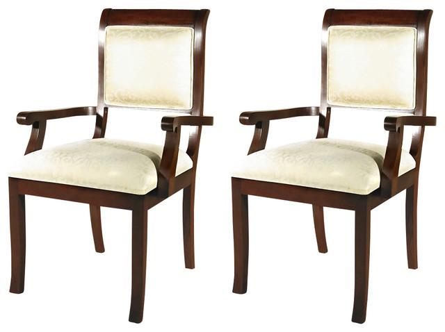 Pair of 2 solid dark cherry upholstered cream dining arm for Cream upholstered dining chairs