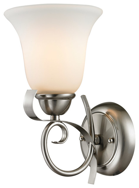Cornerstone 1001WS 20 Brighton 1 Light Wall Sconces In Brushed Nickel Tradi