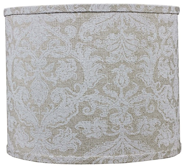 white damask linen lamp shade 14x14x11 spider contemporary lamp. Black Bedroom Furniture Sets. Home Design Ideas