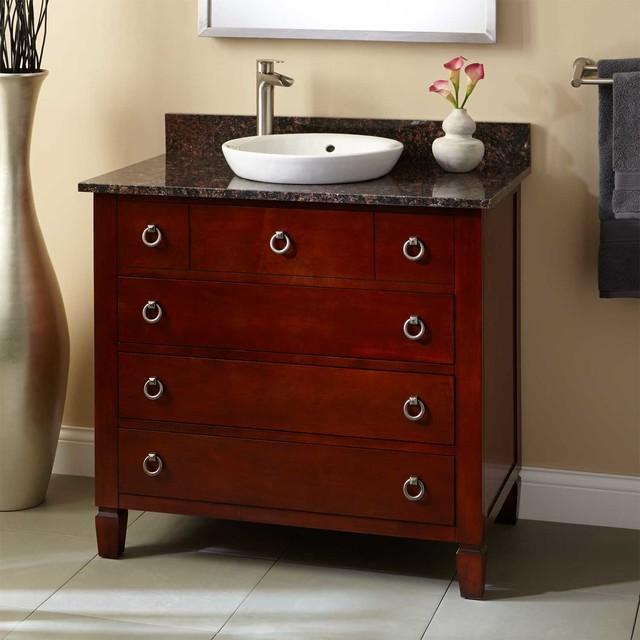 36 Watkins Vanity For Semi Recessed Sink Light Cherry Traditional Bathroom Vanities By