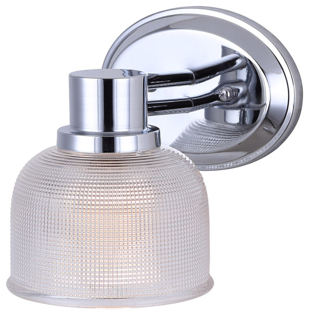 Canarm Anderson 1 Light Vanity with Clear Textured Glass and Chrome Finish - Bathroom Vanity ...