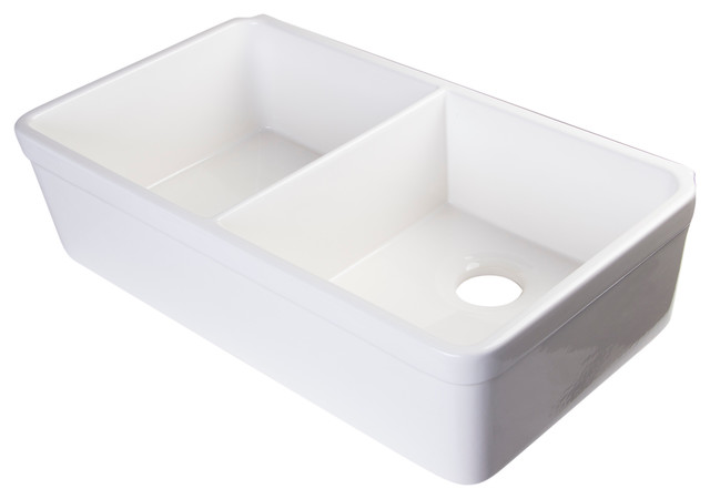 White Double Bowl Farmhouse Sink : White 32