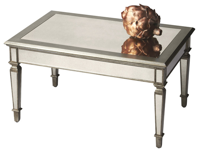 Antique Finished Rectangular Mirrored Cocktail Table Coffee Tables By Beverly Stores