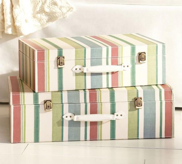 Decorative Boxes Pottery Barn : Striped decorative luggage traditional