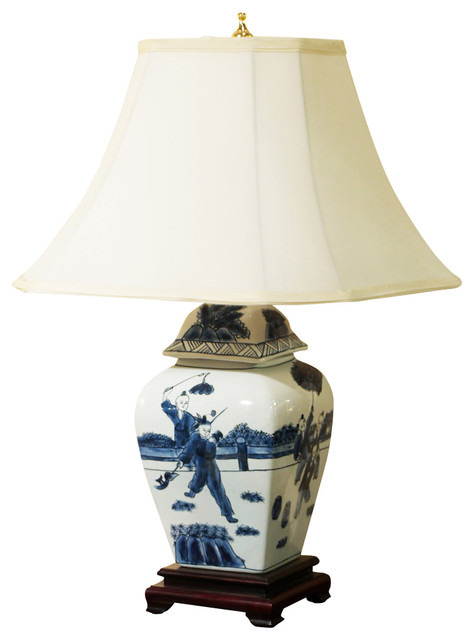 hand painted porcelain lamp w silk shade asian table lamps by. Black Bedroom Furniture Sets. Home Design Ideas
