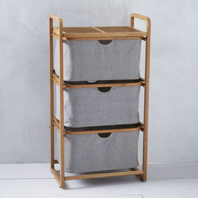 Bamboo laundry triple shelving laundry basket for Bathroom cabinet with baskets