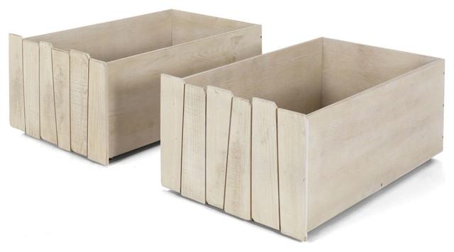 woody wood lot de 2 tiroirs rangement pour lit cabanne contemporain accessoire de lit par. Black Bedroom Furniture Sets. Home Design Ideas