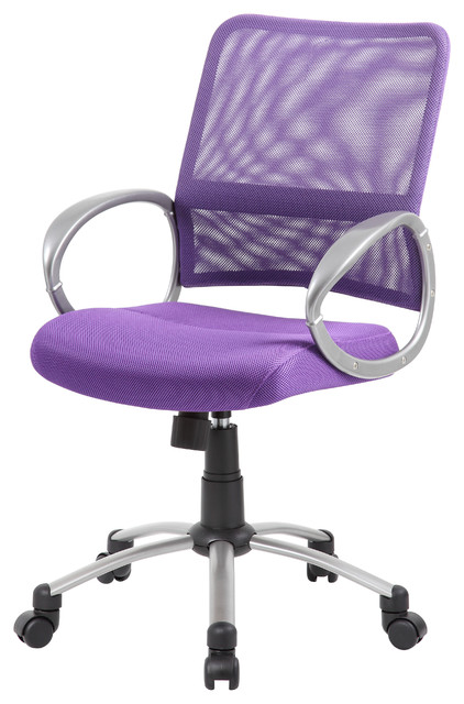 Boss Mesh Back With Pewter Finish Task Chair Purple