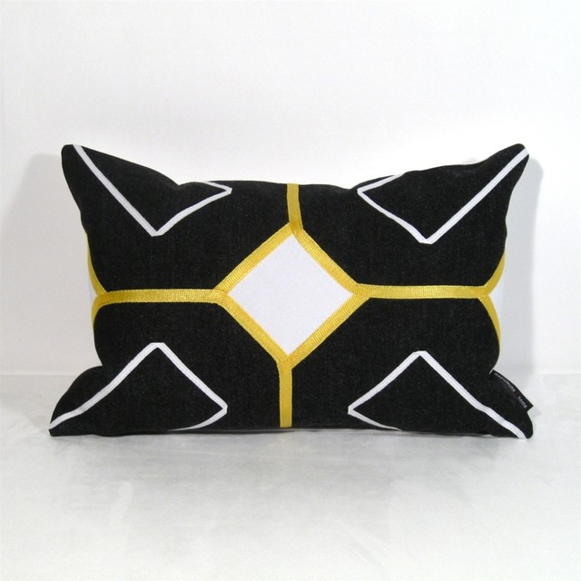 Black White And Yellow Throw Pillows : Arabesk Indoor Decor Cushion in Black, White and Yellow - Modern - Decorative Pillows ...