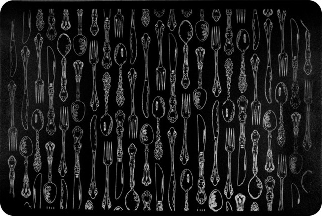 Black Kitchen Mat Mariorange