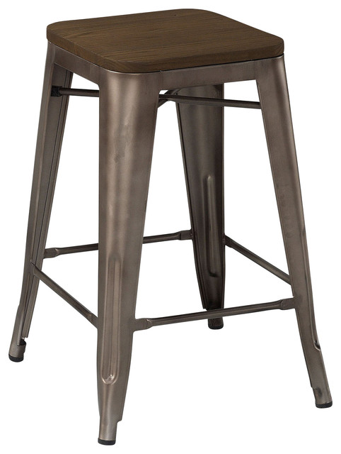 Dreux Rustic Matte Elm Wood Seat Steel Stackable Counter