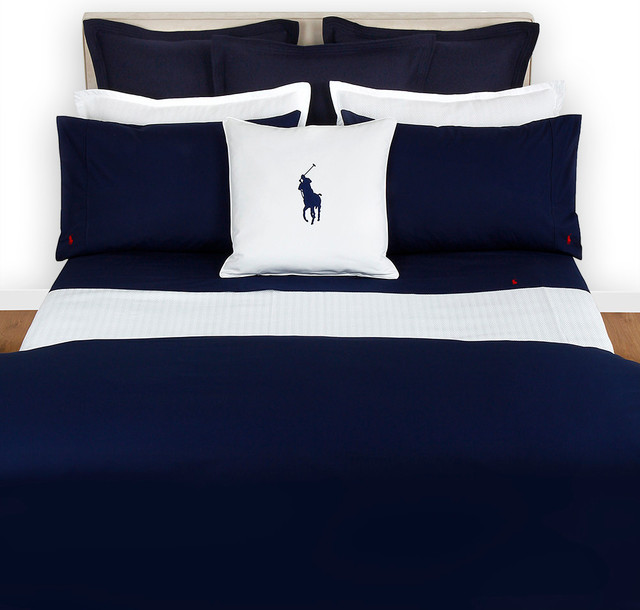 Ralph lauren home polo player navy duvet cover moderne for Parure de lit moderne