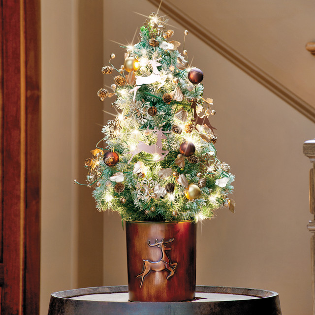Table Top Lighted Christmas Tree: Frosted Leaping Reindeer Tabletop Christmas Tree