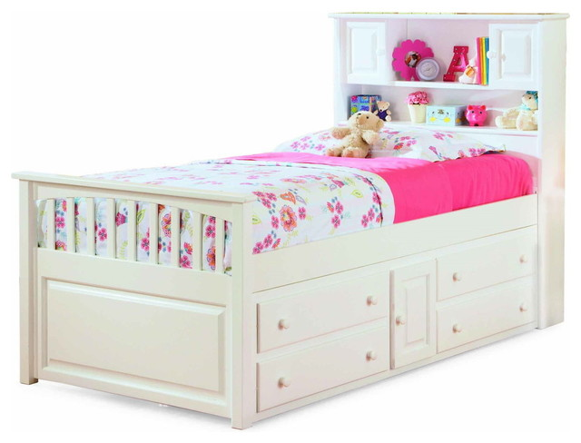 white captain 39 s twin bed with four drawer storage chest ap8526042 traditional kids beds. Black Bedroom Furniture Sets. Home Design Ideas