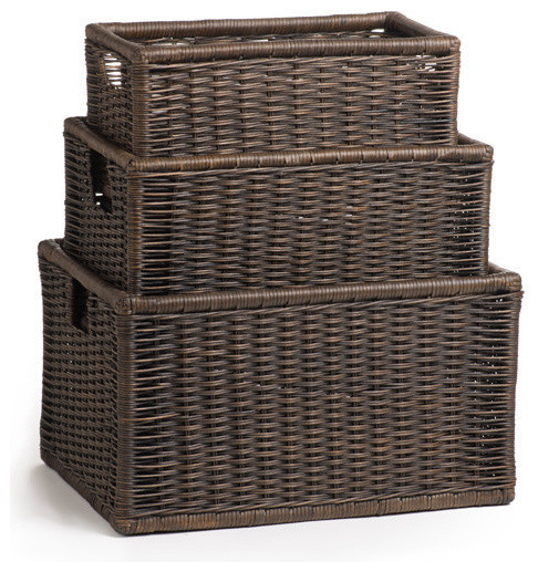 Wicker Kitchen Cabinet Basket, Antique Walnut Brown, Large ...