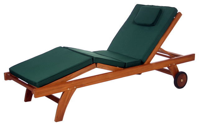 Teak chaise lounge w green cushion traditional for 23 w outdoor cushion for chaise
