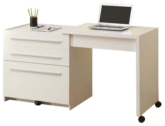 Computer Desk White Slide Out With Storage Drawers