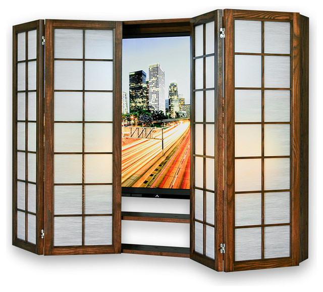 Shoji Flat Screen Surround TV Cabinet, Natural, Ocean Mist - Asian - Entertainment Centers And ...