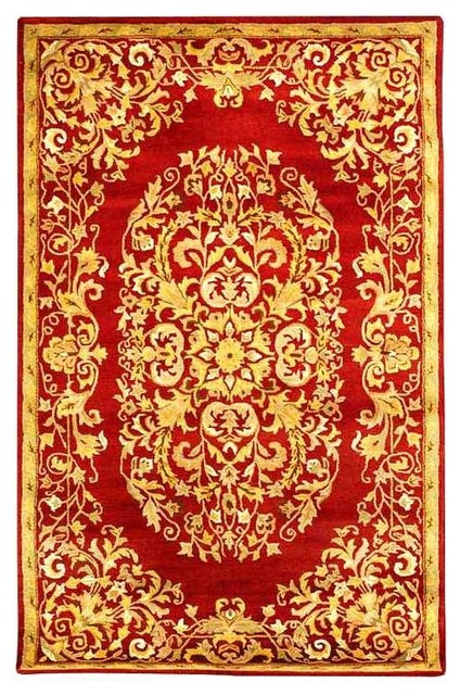 Hand tufted red gold wool rug 5 39 x8 39 traditional for Red and gold area rugs