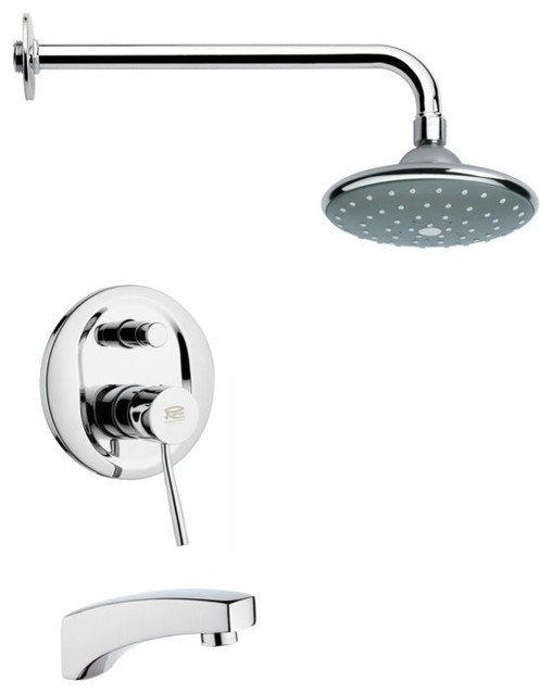 Modern Polished Chrome Tub And Rain Shower Faucet Set Contemporary Tub An