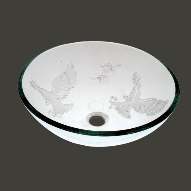 Vessel Sinks Frosted Glass Eagle Etched Glass Vessel Sink Round ...