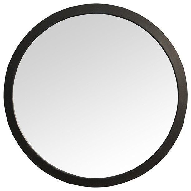 Muse rena round black wall mirror transitional wall for Round black wall mirror