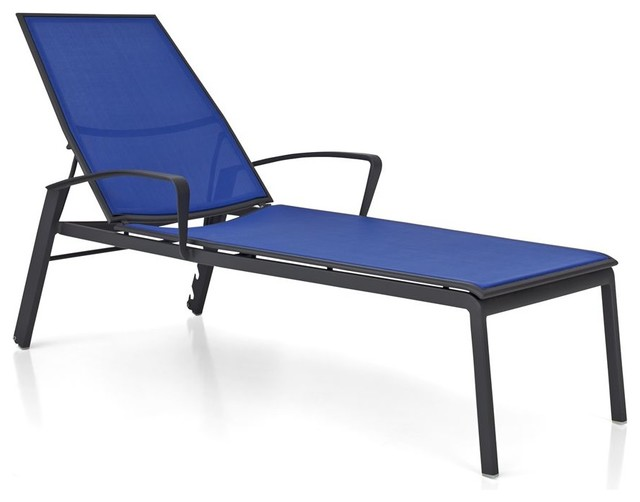 Largo mediterranean blue mesh chaise lounge contemporary for Blue chaise lounge indoor