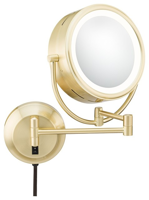 Brushed Brass Pivoting 9 Wide LED Plug In Vanity Mirror Traditional